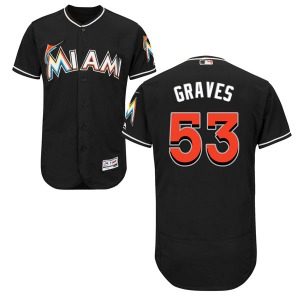 Youth Majestic Miami Marlins Brett Graves Black Flex Base Alternate Collection Jersey - Authentic