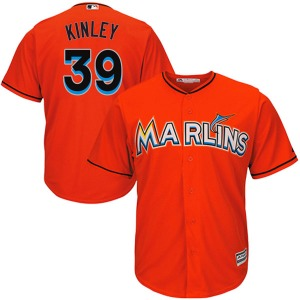 Youth Majestic Miami Marlins Tyler Kinley Orange Cool Base Alternate Jersey - Replica