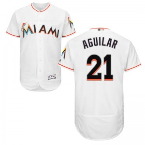 Youth Majestic Miami Marlins Jesus Aguilar White Flex Base Home Collection Jersey - Authentic